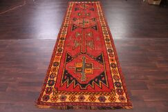 One-of-a-Kind Geometric Tribal Scarlet Lori Shiraz Persian Hand-Knotted 3'11