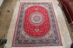 Soft Plush Floral Kerman Persian Blue/Coral Red/Cream Area Rug