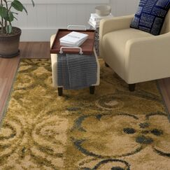 Burbank Scroll Gold Area Rug Rug Size: Rectangle 5' x 8'