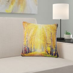 Landscape Autumn Trees Pillow Size: 16