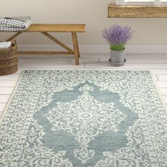 Burhardt Hand Tufted Wool Blue Area Rug Rug Size: Rectangle 8' x 10'