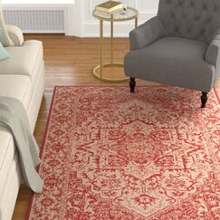 Burnell Red Area Rug Rug Size: Rectangle 9' x 12'