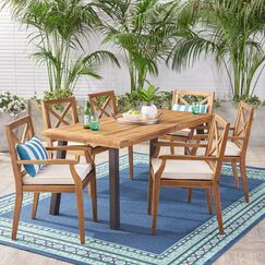 Mabie Outdoor 7 Piece Dining Set with Cushions