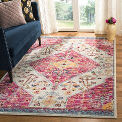 Grieve Cream/Pink Area Rug Rug Size: Rectangle 9' x 12'