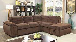 Hambrick Sleeper Sectional with Ottoman Upholstery: Brown