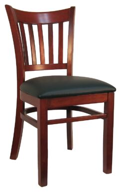 Open Vertical Back Wood Upholstered Dining Chair (Set of 2) Frame Color: Mahogany