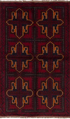 One-of-a-Kind Alanna Hand-Knotted Wool Red/Black/Orange Area Rug