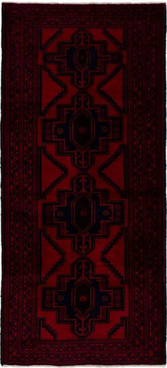 One-of-a-Kind Alaskan Hand-Knotted Wool Navy Blue/Red Area Rug