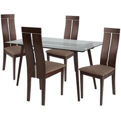Bryony 5 Piece Dining Set Chair Color: Brown, Table Color: Walnut