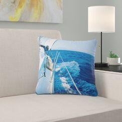 Seashore Tourism Yacht Sailing Pillow Size: 16