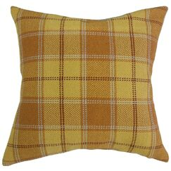 Merchant Plaid Pillow Color: Yellow, Size: 12