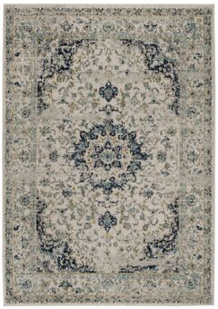 Grieve Ivory/Blue Area Rug Rug Size: Rectangle 3' x 5'