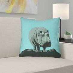 Hansard Vintage Hippo Zoo Poster Square Throw Pillow Size: 18