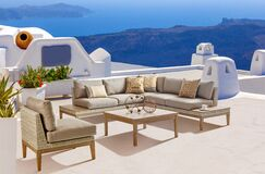 Darnell Patio 5 Piece Rattan Sectional Seating Group with Cushions Cushion Color: Canvas Khaki
