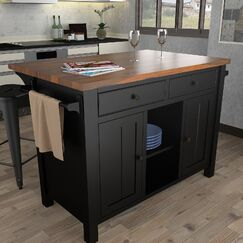 Hearn Extended Counter Kitchen Island Base Finish: Black