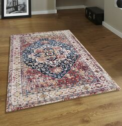 Marview Printed Beige/Red Area Rug Rug Size: Rectangle 5' x 7'