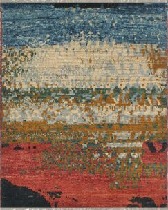 Merchant Hand-Knotted Wool Red/Blue Area Rug