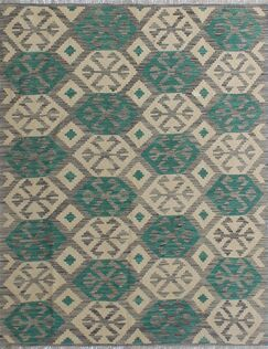 Corda Hand-Knotted Wool Tan/Green Area Rug