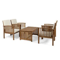 Bangor Outdoor 5 Piece Conversation Set with Cushions Frame Finish: Brown, Cushion Color: Cream