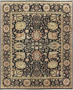 One-of-a-Kind Brokaw Genuine Oriental Hand-Knotted Wool Black/Yellow Area Rug