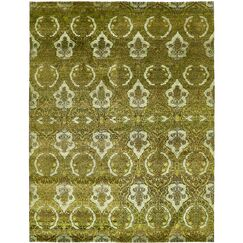 One-of-a-Kind Easton Hand-Knotted Silk Green Area Rug