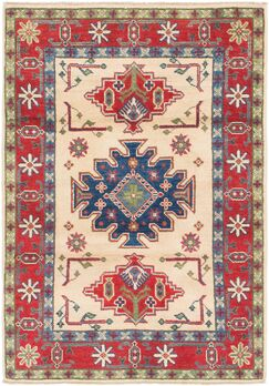 One-of-a-Kind Alayna Hand-Knotted Wool Cream/Red Area Rug