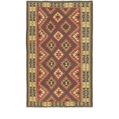 One-of-a-Kind Lorain Hand-Knotted 5' x 8' Wool Rust Red/Olive Area Rug