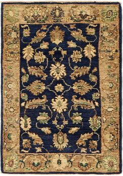 One-of-a-Kind Huntingdon Hand-Knotted  2' x 3' Wool Navy Blue/Beige Area Rug