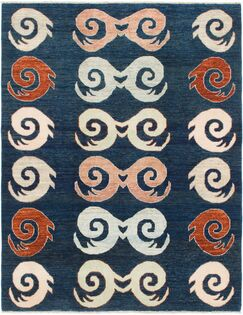 One-of-a-Kind Nash Hand-Knotted Wool Blue Area Rug