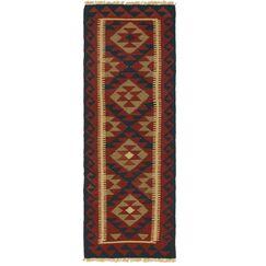 One-of-a-Kind Bedlington Kilim Maymana Hand-Knotted Wool 2' x 6'1