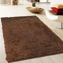 One-of-a-Kind Hand-Knotted Dark Brown Area Rug