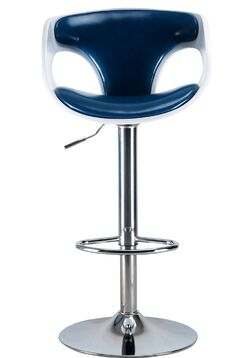 Brisa Mid Century Modern Adjustable Height Swivel Bar Stool Color: White/Blue