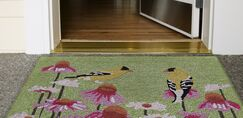 Naswith Goldfinch Hand-Tufted Green/Pink Indoor/Outdoor Area Rug Size: Rectangle 2' x 3'