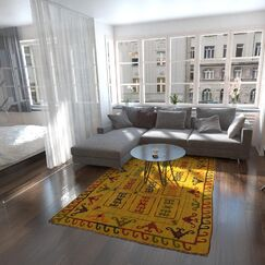 One-of-a-Kind Watchet Hand-Knotted Wool Gold Area Rug