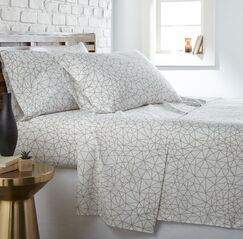 Dow Geometric Maze Sheet Set Color: White/Taupe, Size: Twin XL