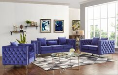 Niagara 3 Piece Living Room Set Upholstery Color Color: Blue