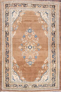 One-of-a-Kind Mahal Floral Traditional Sarouk Persian Hand-Knotted 4'4