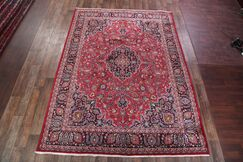 One-of-a-Kind Mashad Persian Traditional Hand-Knotted 9'7