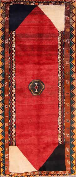 One-of-a-Kind Gabbeh Shiraz Persian Hand-Knotted 3'4