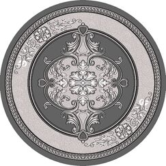 Ramsel 3D Traditional Oriental Floral Charcoal Area Rug Rug Size: Round 5'3