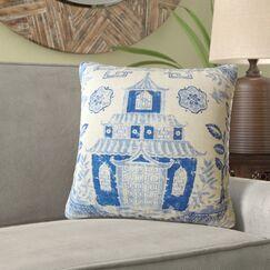 Mizpah Chinoiserie Linen Pillow Size: 12