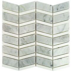 Blazon Carrara Herringbone Random Sized Marble Mosaic Tile in White