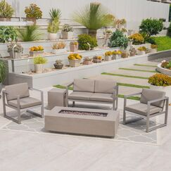 Maud Outdoor 5 Piece Sofa Seating Group with Cushions Frame Finish: Light Gray