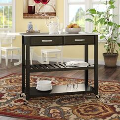 Gothard Kitchen Island with Stainless Steel Top Frame Finish: Black