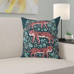 Andrea Lauren Safari Tiger Indoor/Outdoor Throw Pillow Size: 18