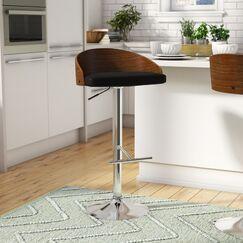 Montross Adjustable Height Swivel Bar Stool Upholstery: Black