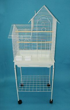 Villa Top Small Bird Cage with Stand and 2 Feeder Doors Color: White