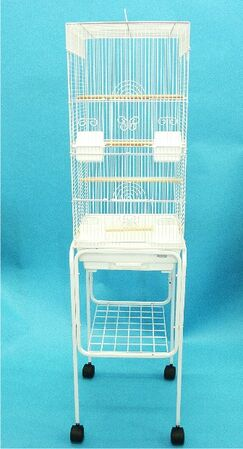 Tall Square 4 Perch Bird Cage with Stand Color: White