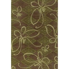 Anny Butterfly Brown/Green Novelty Rug Rug Size: Rectangle 2' x 3'