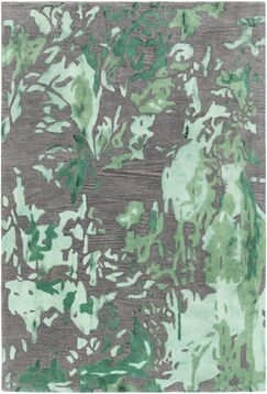 Steves Hand-Woven Green/Charcoal Area Rug Rug Size: 7'9